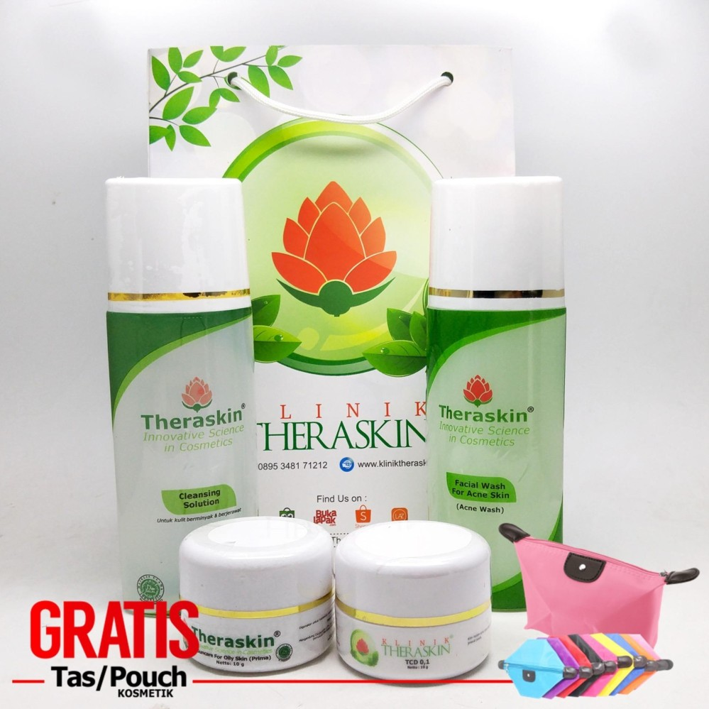 [PROMO] Theraskin Acne - Paket Khusus Jerawat Parah & Merata Untuk Kulit Berminyak with TCD 0.1 + GRATIS POUCH